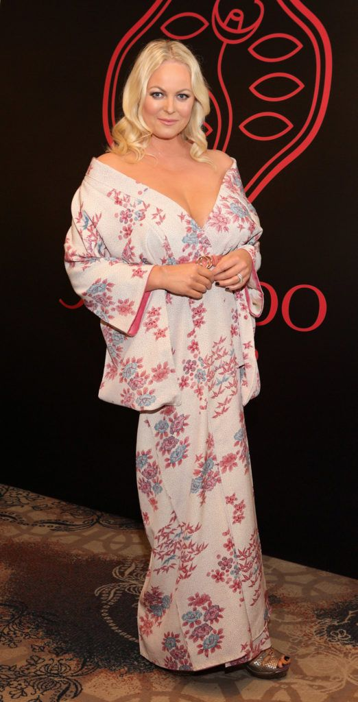 Amanda Brunker at the Shiseido International Charity Lunch and Fashion Show in aid of the Rape Crisis Centre hosted by catwalk queen Miss Candy at the Westin Hotel, Dublin. Pic Brian McEvoy Photography