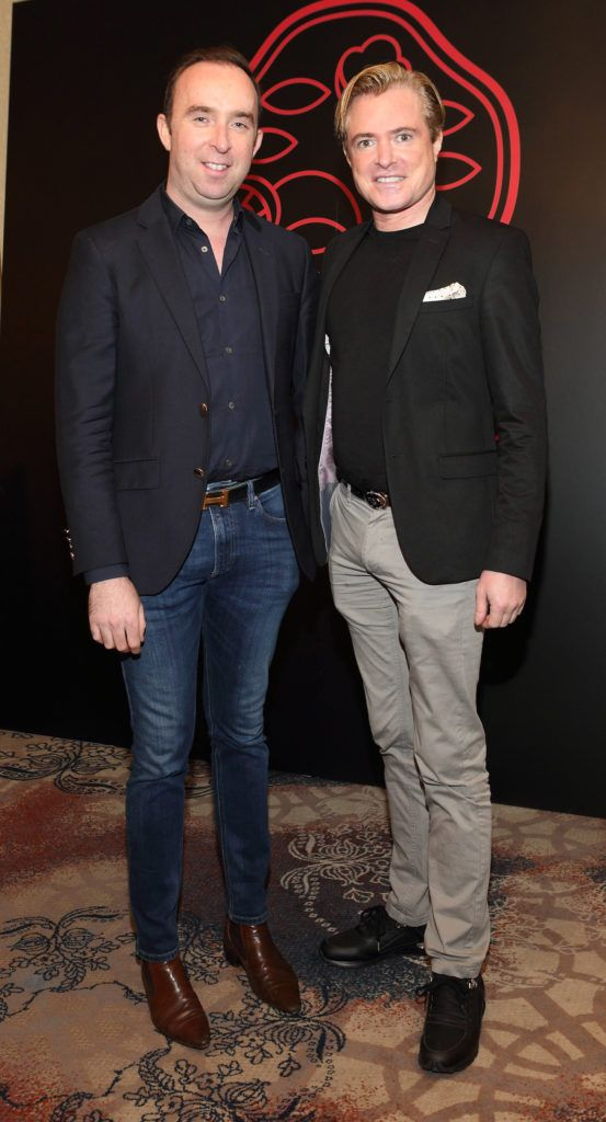 Richard Kavanagh and PJ Gibbons at the Shiseido International Charity Lunch and Fashion Show in aid of the Rape Crisis Centre hosted by catwalk queen Miss Candy at the Westin Hotel, Dublin. Pic Brian McEvoy Photography
