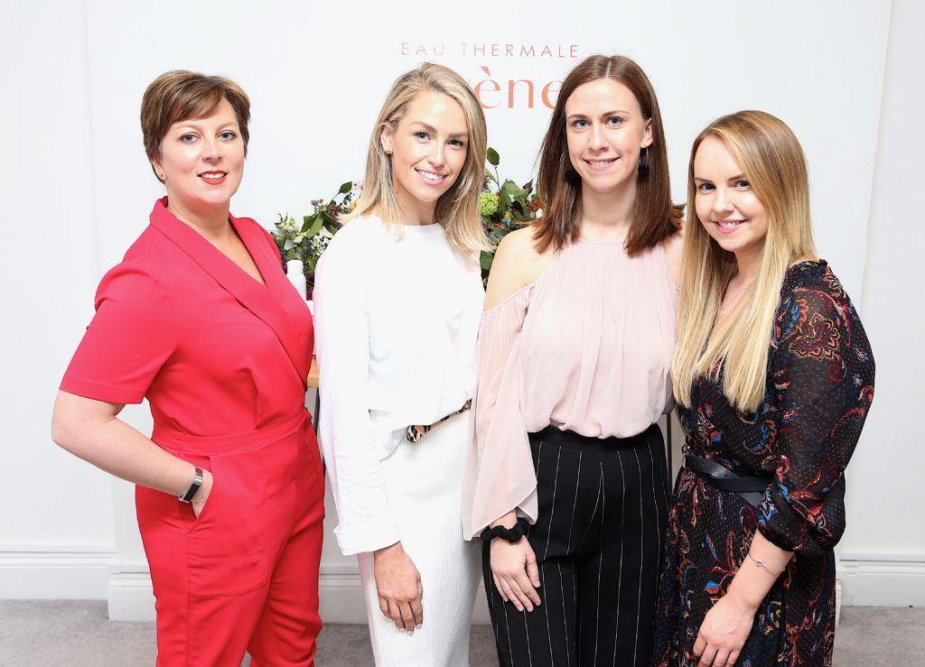 Charlotte Heckford, Lia Stokes, Jenny Jacobson and Katie Allen pictured at the Avene Radiance Skincare launch at Studio 10, Wicklow St (20/09/18). Photo: Karen Morgan