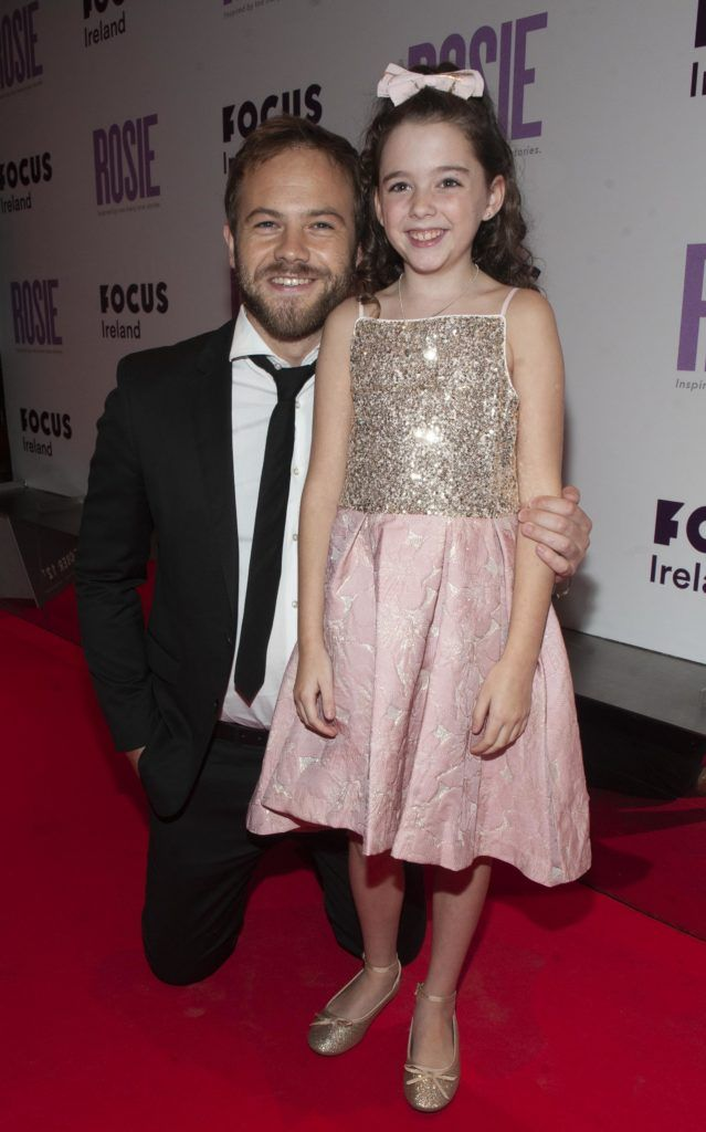 Moe Dunford and Ruby Dunne (age 9) pictured at the European premiere of 'Rosie' at the Light House Cinema, Dublin. Photo: Patrick O'Leary