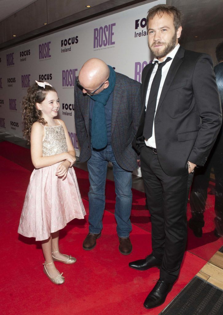 Roddy Doyle speaks to Ruby Dunne (age 9) and Moe Dunford at the European premiere of 'Rosie' at the Light House Cinema, Dublin. Photo: Patrick O'Leary
