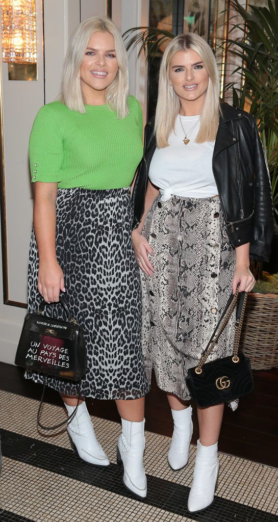 Ashley Kehoe and Emma Kehoe at the launch of Bellamianta Luxury Tan's Ultimate Glowgetter Kit at Dublin's Westbury Hotel. Picture: Brian McEvoy