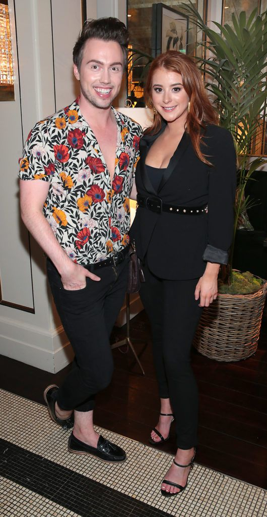 Mark Rogers and Megan Connery at the launch of Bellamianta Luxury Tan's Ultimate Glowgetter Kit at Dublin's Westbury Hotel. Picture: Brian McEvoy