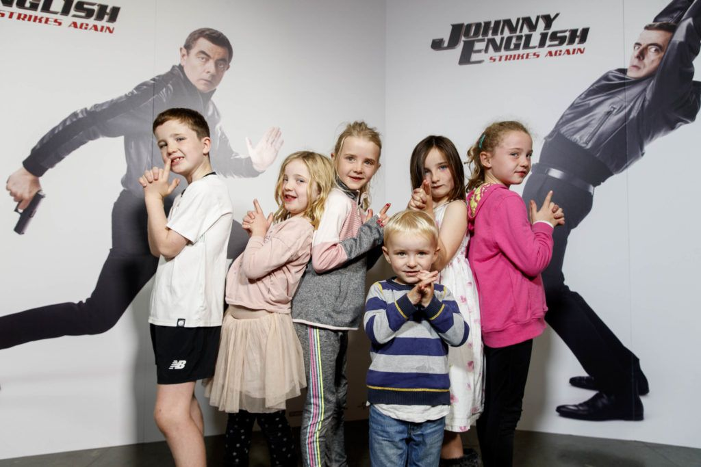 Daithi and Cora Sweeney, Keellen Morrow, Daragh Morrow, Hannah Sweenyy and Av Morrow pictured at a special preview screening of Johnny English Strikes Again at ODEON Point Village, Dublin. Picture Andres Poveda
