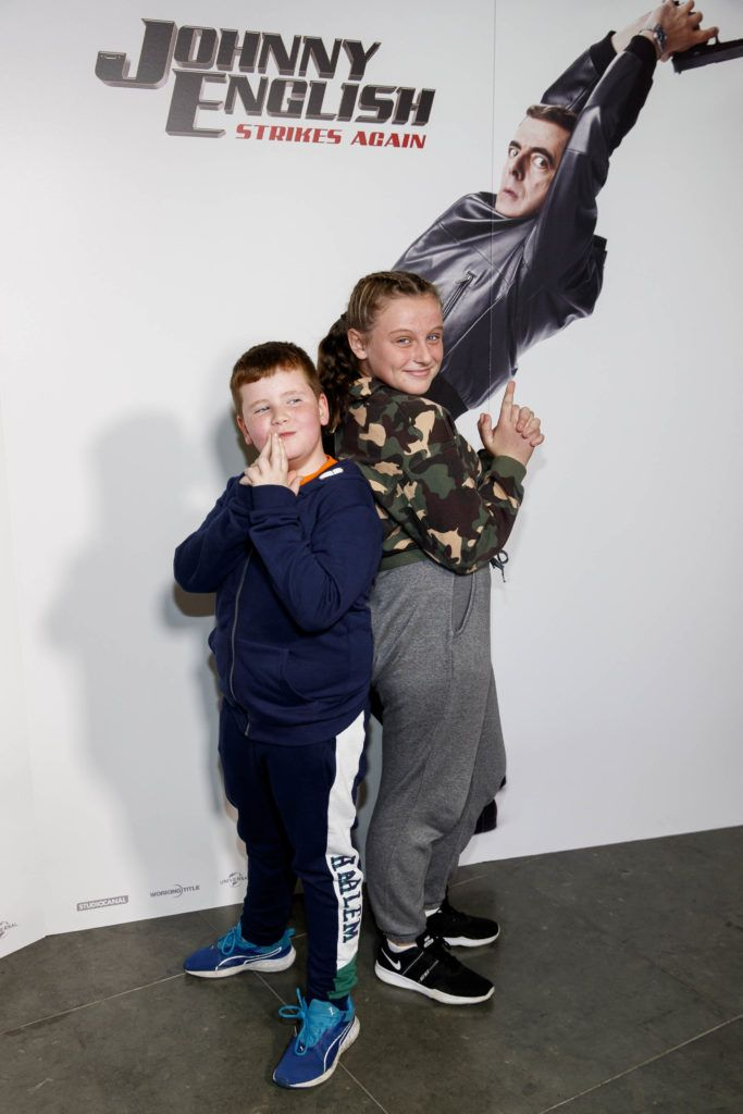 Cian O'Sullivan and Charlie Allen from Ballybrack and Sallynoggin pictured at a special preview screening of Johnny English Strikes Again at ODEON Point Village, Dublin. Picture Andres Poveda