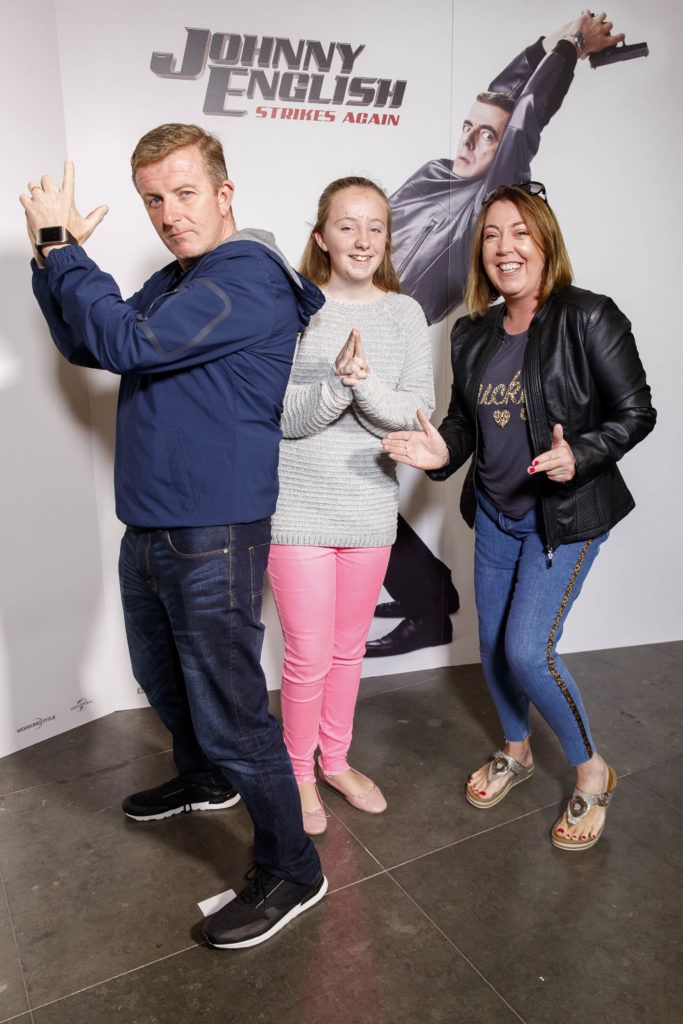 John, Abi and Dara Walsh from Whitehall pictured at a special preview screening of Johnny English Strikes Again at ODEON Point Village, Dublin. Picture Andres Poveda