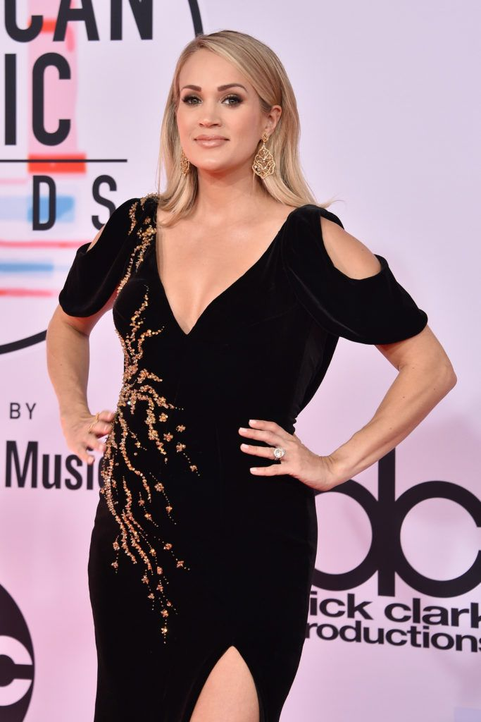 Carrie Underwood attends the 2018 American Music Awards at Microsoft Theater on October 9, 2018 in Los Angeles, California.  (Photo by David Crotty/Patrick McMullan via Getty Images)