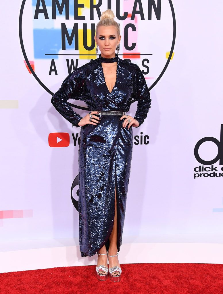 Ashlee Simpson arrives at the 2018 American Music Awards at Microsoft Theater on October 9, 2018 in Los Angeles, California.  (Photo by Steve Granitz/WireImage)