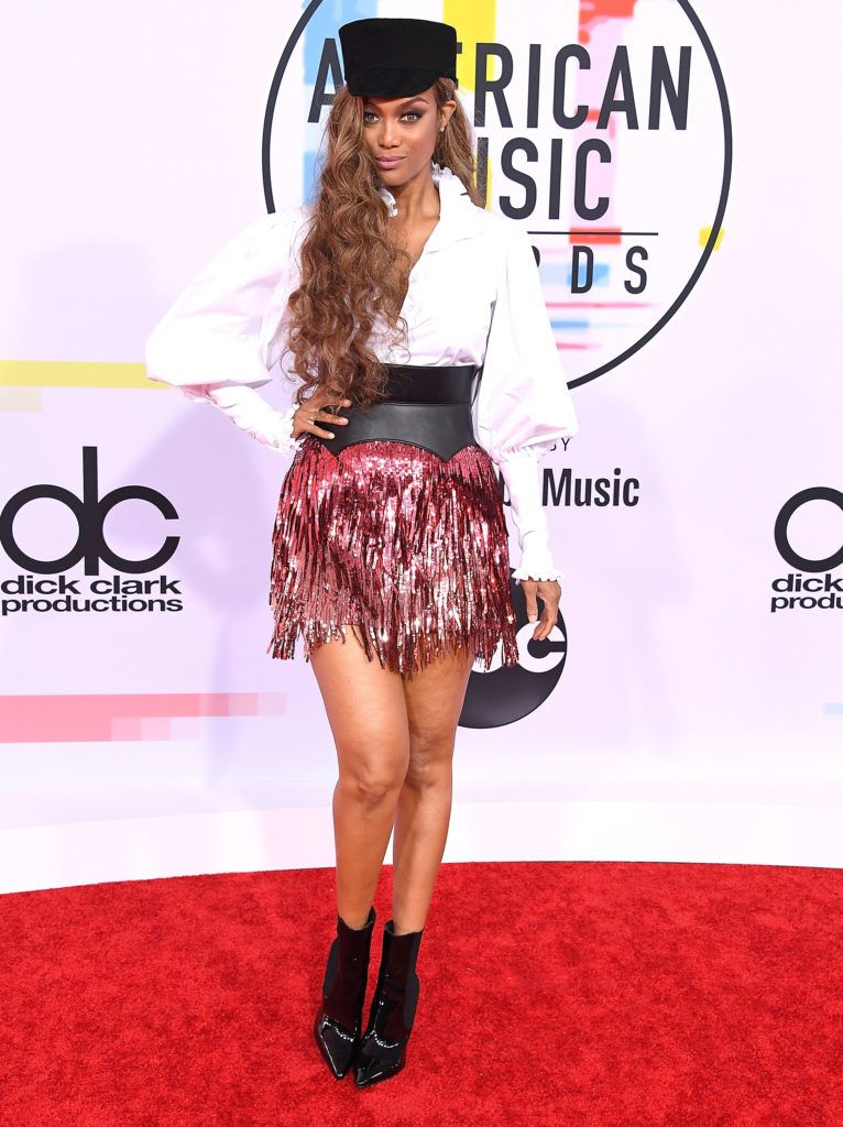 Tyra Banks arrives at the 2018 American Music Awards at Microsoft Theater on October 9, 2018 in Los Angeles, California.  (Photo by Steve Granitz/WireImage)