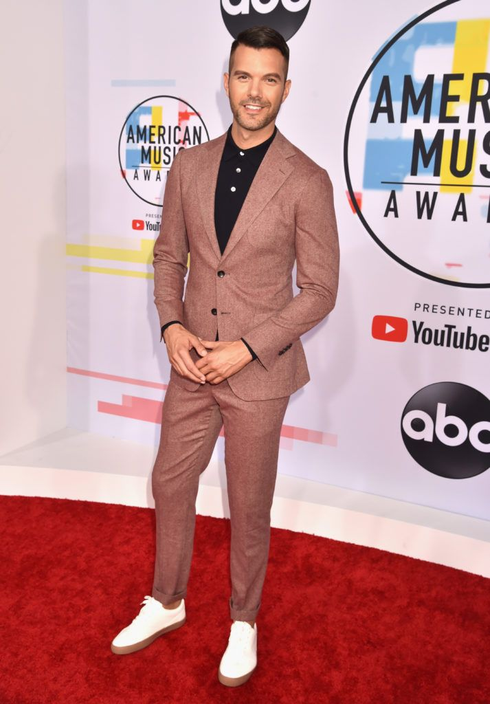AJ Gibson attends the 2018 American Music Awards at Microsoft Theater on October 9, 2018 in Los Angeles, California.  (Photo by Kevin Mazur/Getty Images For dcp)
