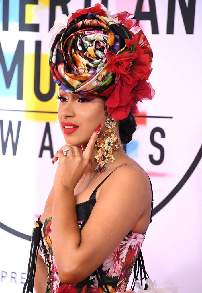 Cardi B arrives at the 2018 American Music Awards at Microsoft Theater on October 9, 2018 in Los Angeles, California.  (Photo by Steve Granitz/WireImage)