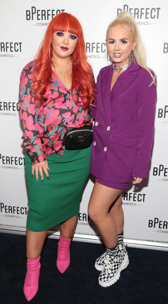 Shona Kelly and Deirbhile Kelly pictured at launch of the BPerfect Cosmetics Born Ready Lip Kits in partnership with MUA Ellie Kelly at Twenty Two, Dublin. Photo: Brian McEvoy
