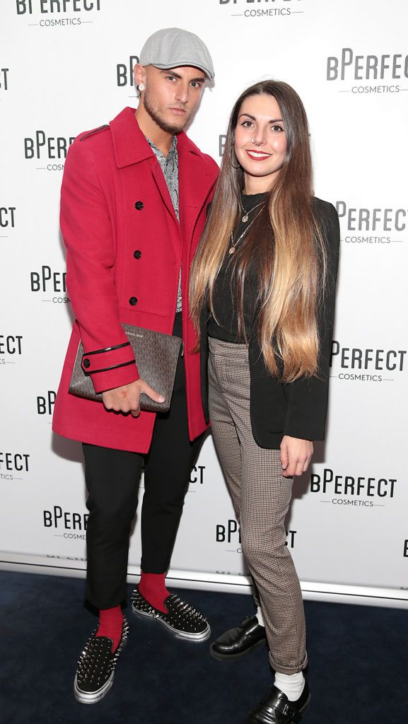Alexander Christian and Lucia Sulas pictured at launch of the BPerfect Cosmetics Born Ready Lip Kits in partnership with MUA Ellie Kelly at Twenty Two, Dublin. Photo: Brian McEvoy