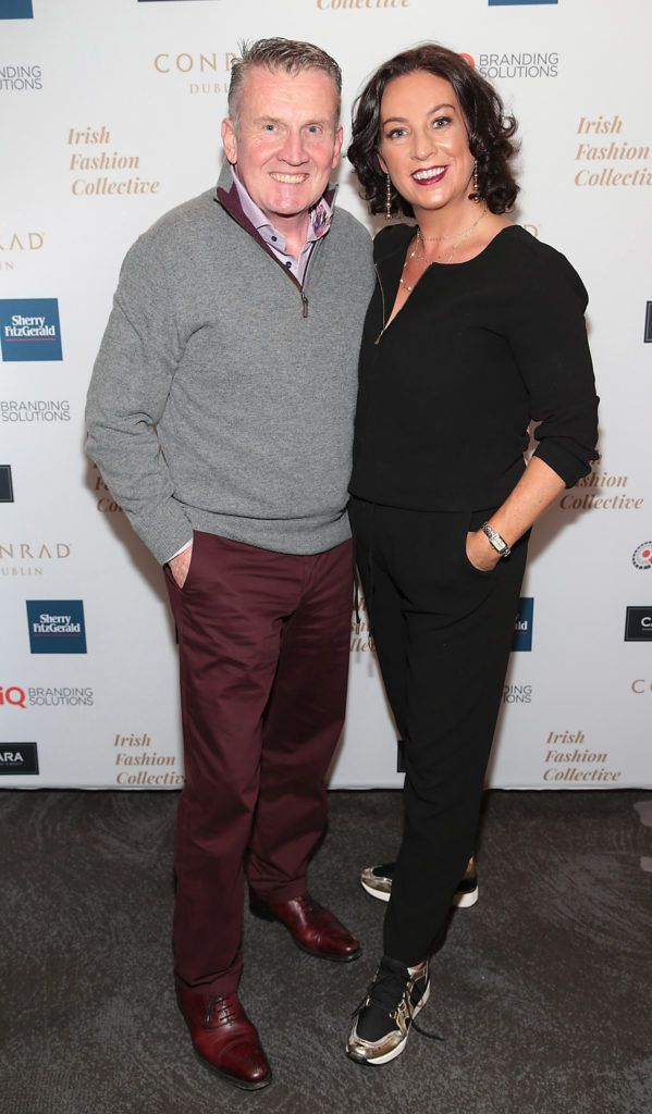 Aidan Chadwick and Siobhan Grant at the 2018 Irish Fashion Collective show in aid of Saint Joseph's Shankill, at the Conrad Dublin. Photo: Brian McEvoy