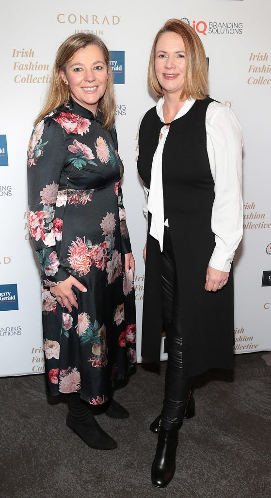Niamh Kiely and Angela McEvoy at the 2018 Irish Fashion Collective show in aid of Saint Joseph's Shankill, at the Conrad Dublin. Photo: Brian McEvoy