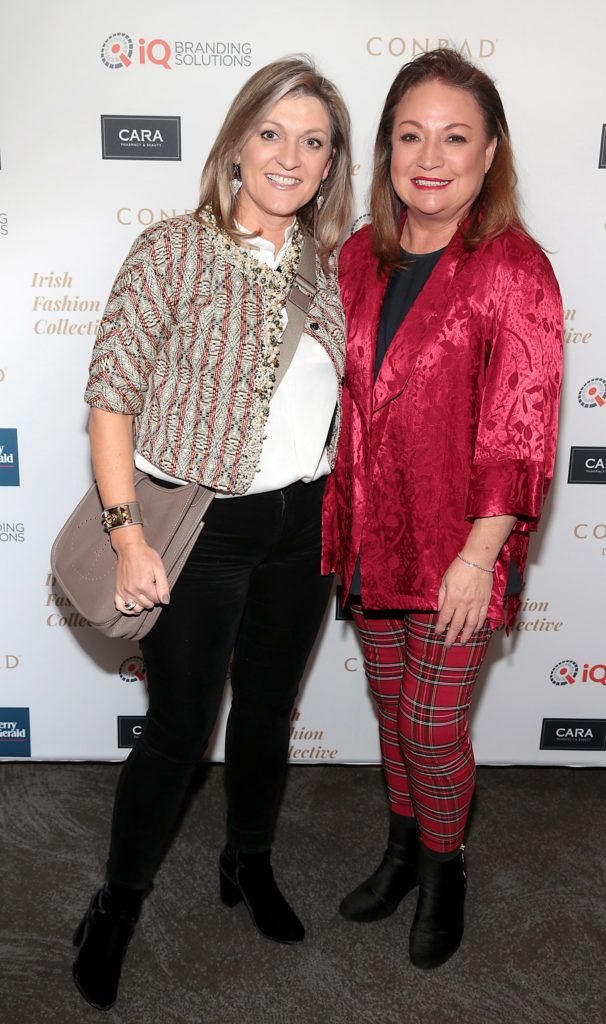 Emma Coppolla and Norah Casey at the 2018 Irish Fashion Collective show in aid of Saint Joseph's Shankill, at the Conrad Dublin. Photo: Brian McEvoy