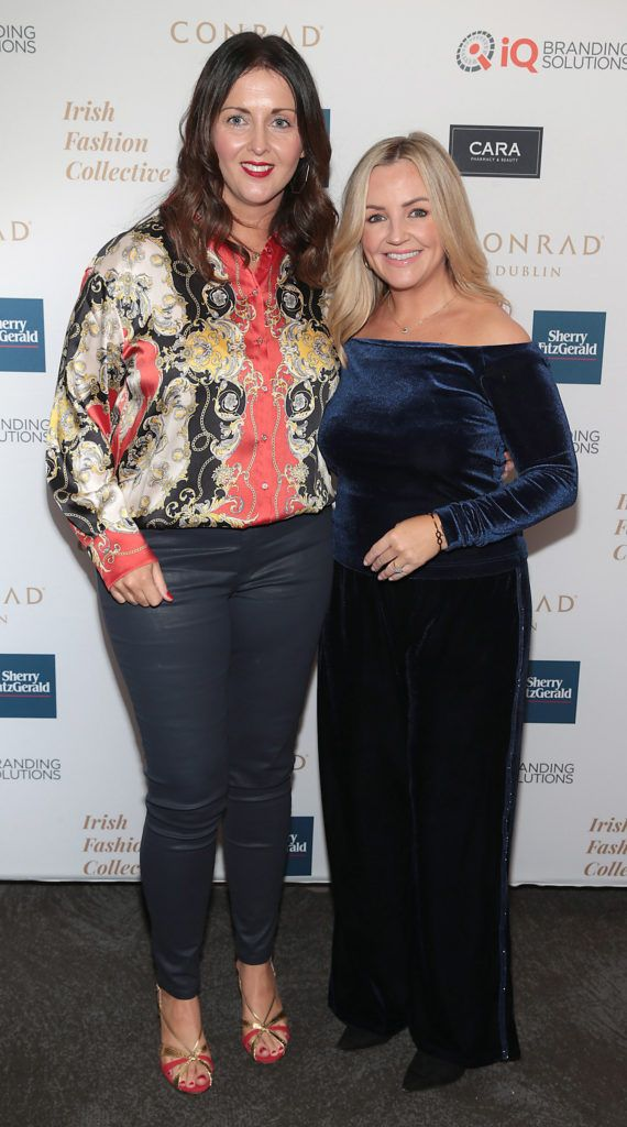 Sharon Noone and Lisa Sweetman at the 2018 Irish Fashion Collective show in aid of Saint Joseph's Shankill, at the Conrad Dublin. Photo: Brian McEvoy