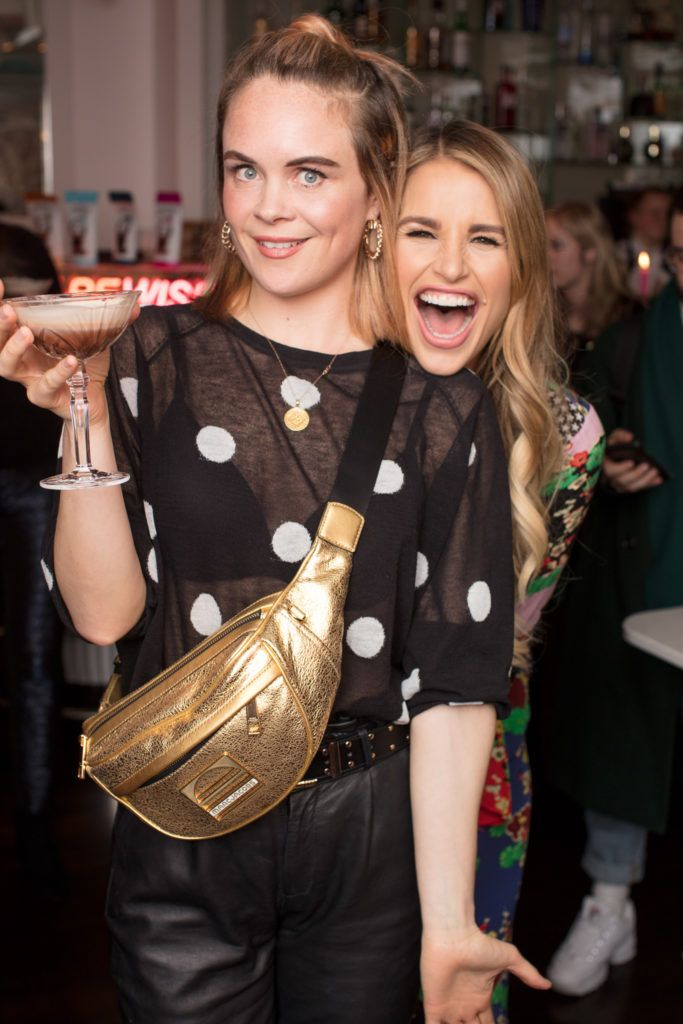 Joanne McNally & Vogue Williams pictured at the launch of Lily O'Brien's 'Share Wisely' bags. Photo: Anthony Woods