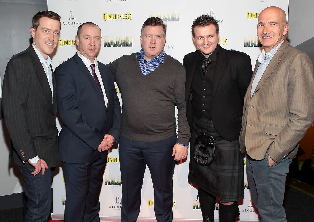 Andrew Lotbiniere ,Stuart Pearson ,Mark Anderson ,Scott Kyle and Paul Katis  at the Irish premiere screening of Kajaki at Omniplex in Rathmines Dublin.Picture:Brian McEvoy.