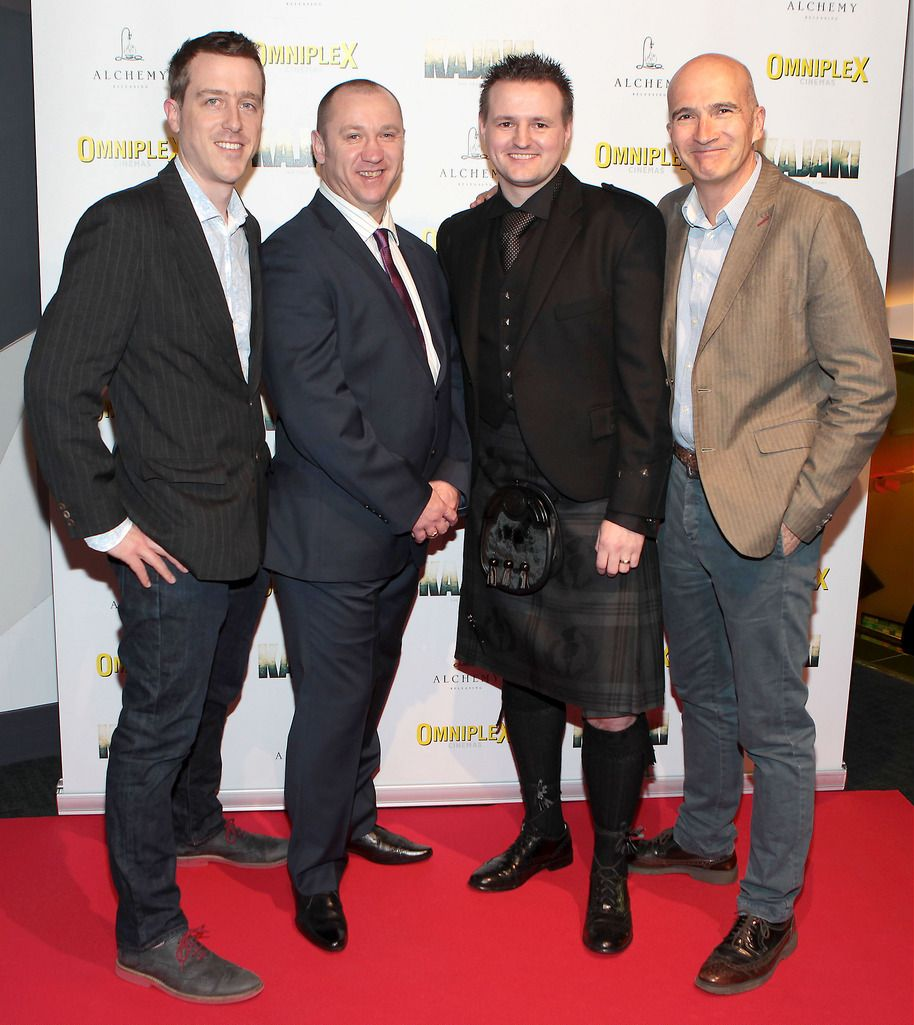 Andrew Lotbiniere ,Stuart Pearson ,Scott Kyle and Paul Katis  at the Irish premiere screening of Kajaki at Omniplex in Rathmines Dublin.Picture:Brian McEvoy.