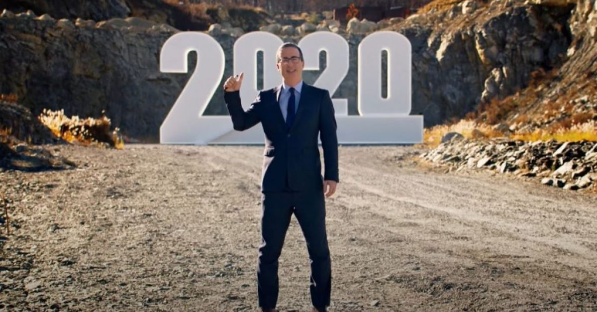 watch as john oliver says goodbye to 2020 by blowing it up.