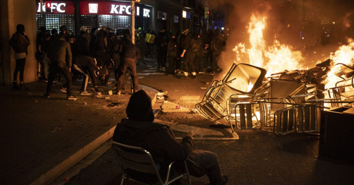 Clashes break out on fifth night of protests over rapper imprisonment