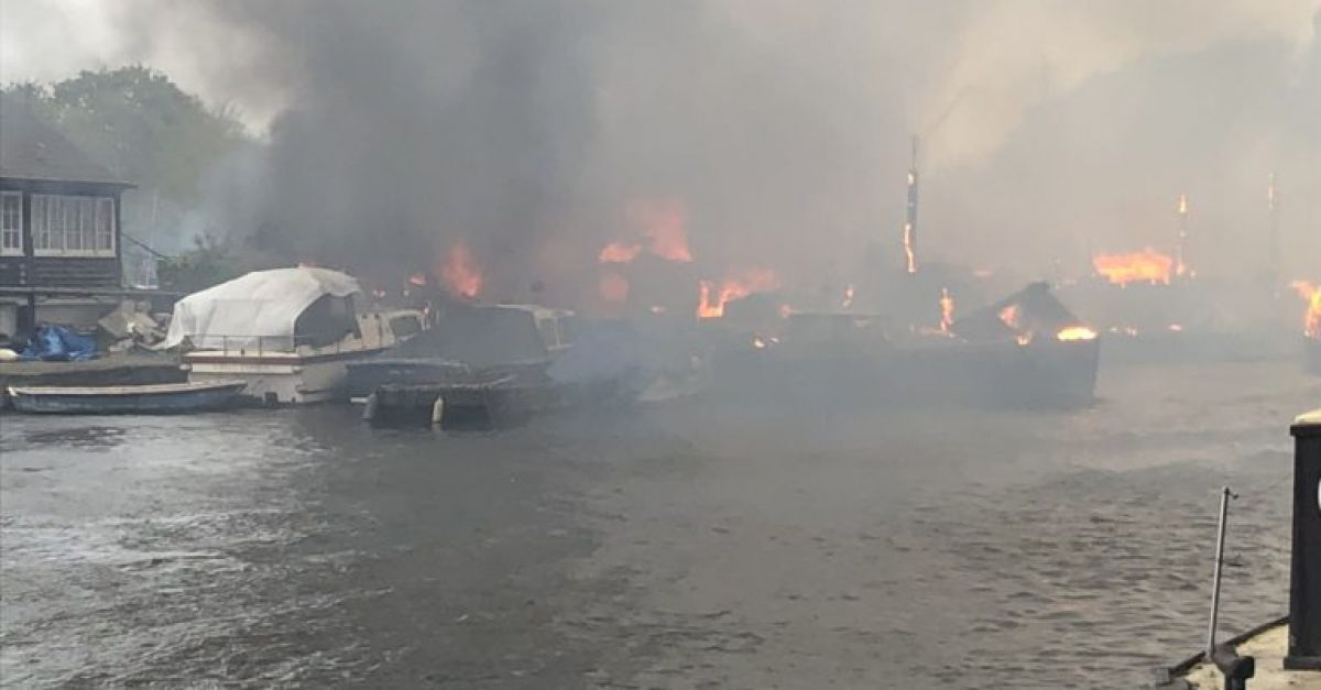 Dozens of firefighters tackle blaze on island in River Thames