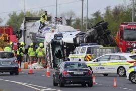Motorway Delays After Milk Lorry Overturns