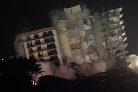 Florida Building Demolished With Explosives Following Earlier Partial Collapse