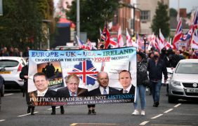 Anti-Protocol Demonstration Staged In Loyalist Area Of Belfast