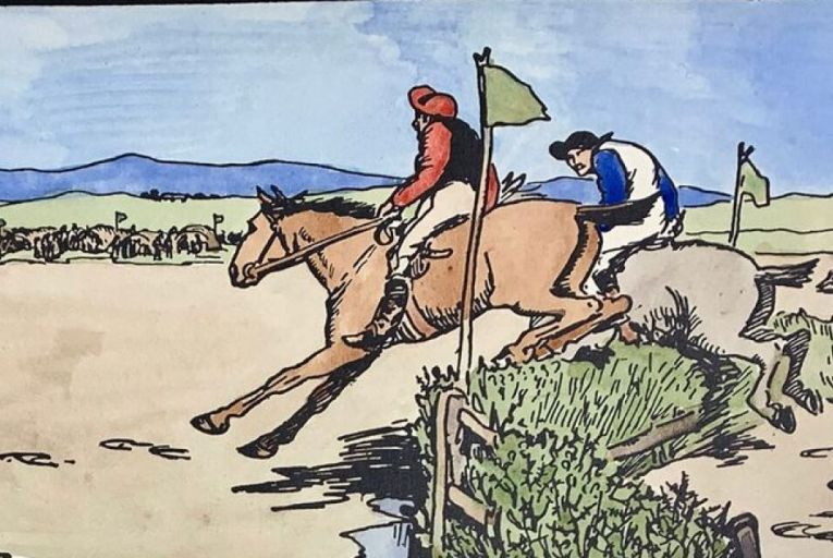 The  Strand Races: The Start by Jack B Yeats, one of two hand-coloured Cuala Press print from 1906 which appear in De Búrca Rare Books' new catalogue