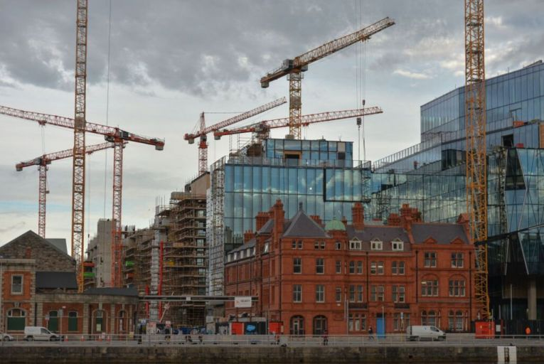 The construction site of the Salesforce Tower in Dublin's docklands: building costs are expected to rise in 2021. Picture: Getty