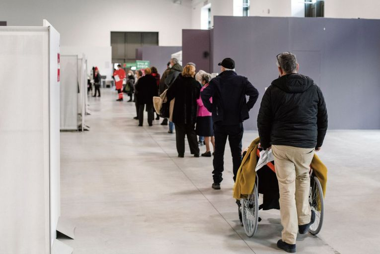 People queue to get vaccinated in Bologna: Italy was one of several European countries that paused the adminstration of the AstraZeneca vaccine   Getty