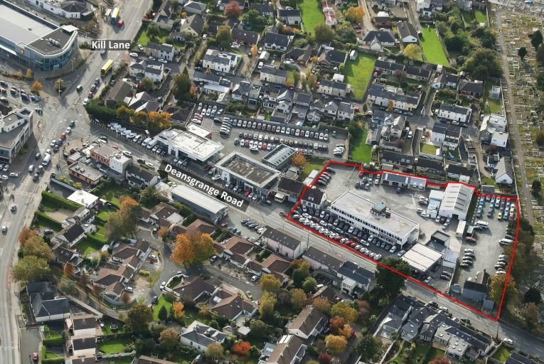Aerial shot of the site on the Deansgrange Road in Blackrock, Co Dublin