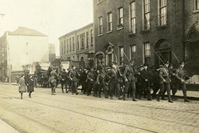 Participants in the Rising being taken as prisoners to Custom House Quay Smith Album/courtesy the National Museum of ireland
