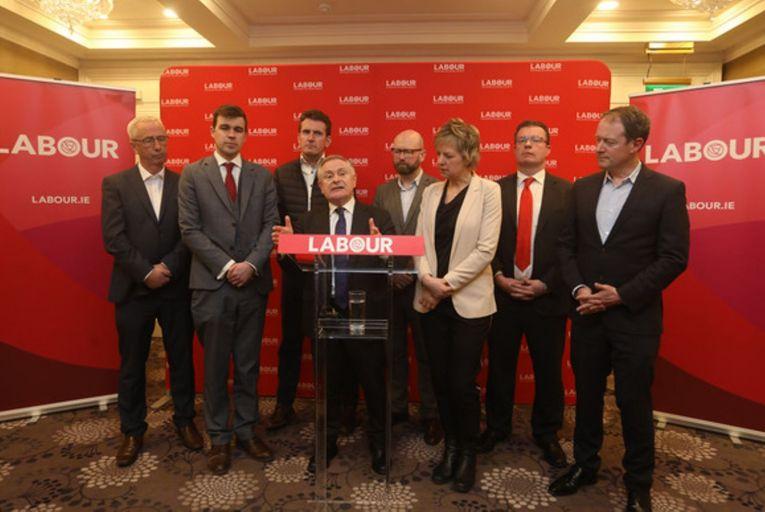 Brendan Howlin announces his resignation as Labour leader last week, joined by Kevin Humphreys, Duncan Smith, Aodhán Ó Ríordáin, Ged Nash, Ivana Bacik, Alan Kelly and Seán Sherlock. Picture: Rollingnews.ie