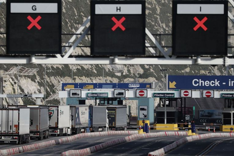Lorries arrive at Dover a week after post-Brexit rules kicked in, some of which have delayed shipments to the North. Picture: PA