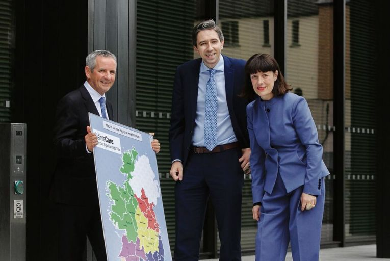 Paul Reid HSE CEO, former Minister for Health Simon Harris TD and  Laura Magahy, former Executive Director Slaintecare. Picture: Collins