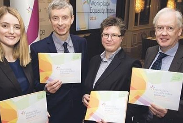 Representatives from GLEN, EY and An Garda Síochána who spoke at the launch of the Workplace Equality Index 2016. L-R: Eimear O' Reilly, Workplace Diversity Programme Officer, GLEN; Davin Roche, Director of Workplace Diversity, GLEN; Catherine Vaughan, Global Compliance Leader, EY; John Barrett, Executive Director, Human Resources and People Development, An Garda Síochána