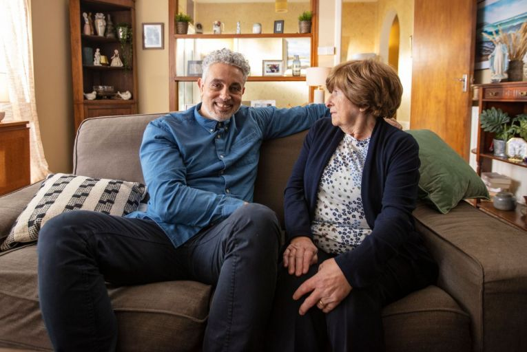 Baz Ashmawy, the TV and radio broadcaster who will front the Bank of Ireland campaign, pictured with his mother Nancy who also became a TV personality after appearing on his show.