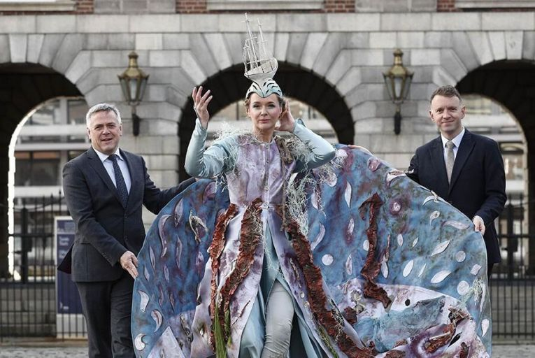 Business to Arts Awards, Sean McGrath, CEO, Allianz; Andrew Hetherington , Chief Executive, Business to Arts and Victoria Mc Cormack, Macnas at Dublin Castle.  Pic: Conor McCabe