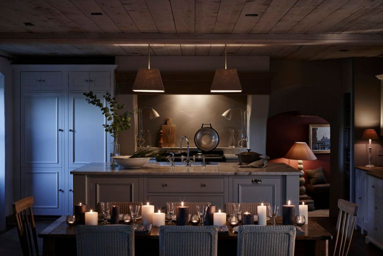 'A kitchen island will benefit from pendant lighting over it, with focused shafts of light illuminating the work surface'