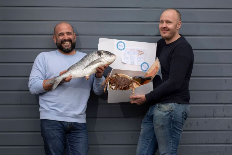 Niall Sabongi, owner of Klaw restaurant, and Mickael Viljanen, chef at the Greenhouse, have launched a seafood supper delivery service. Photo: Fergal Phillips