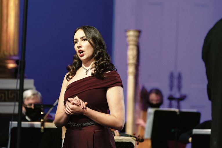 Amy Ní Fhearraigh performing at Dublin Castle last week as part of the INO's Mezzo Masterpieces series of online concerts