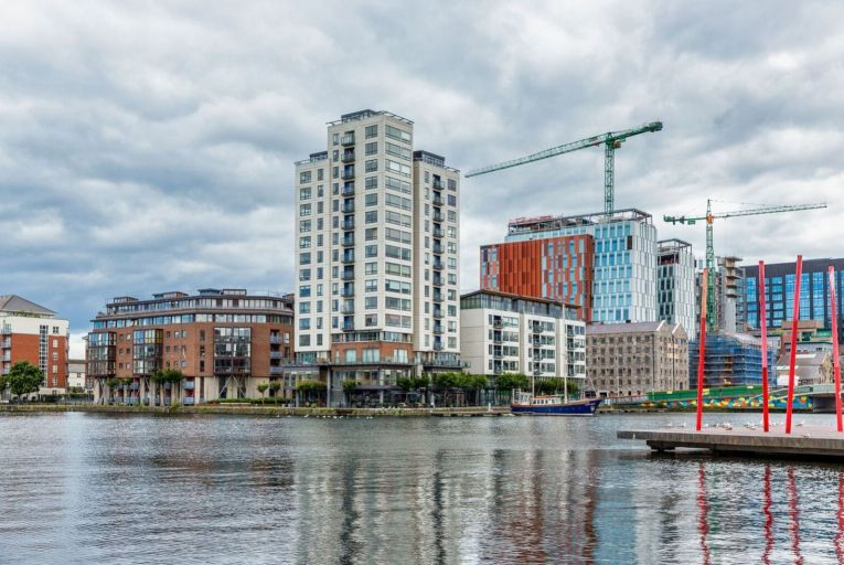 The Millennium Tower at Grand Canal Dock in Dublin: the average salary earned by tenants in Owen Reilly properties last year was €112,878, down 12 per cent down year-on-year