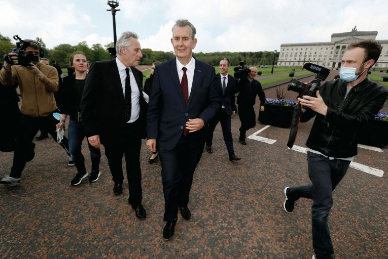 Edwin Poots, seen here with Ian Paisley jr outside Stormont, defeated Jeffrey Donaldson in the DUP leadership election by 19 votes to 17. Picture: PA