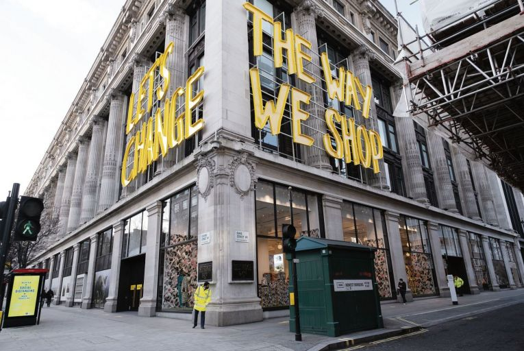 The Selfridges store in London is practically the last standing department store on Oxford Street following the closure of Debenhams and House of Fraser. Picture: Getty