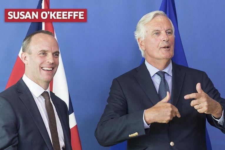 British Brexit Secretary Dominic Raab with Michel Barnier. Pic: Getty