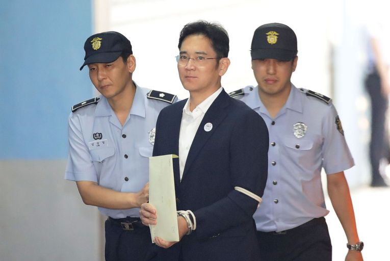 Lee Jae-yong, Samsung Group heir, has been sentenced to two and a half years in jail  for his involvement in a bribery and embezzlement scandal in South Korea. Photo: Seung-il Ryu/NurPhoto
