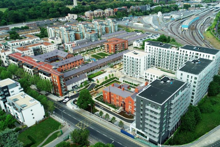 Aerial shot of the site at Clancy Quay in Dublin 8